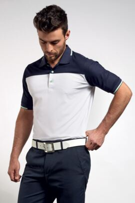 Mens Colour Block Performance Golf Polo with Jacquard Collar and Cuffs