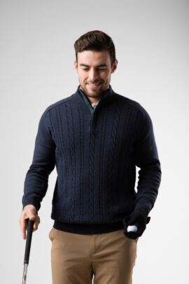 Mens Zip Neck Cable Tartan Placket Touch of Cashmere Golf Sweater