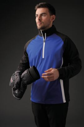 Mens Zip Neck Raglan Panelled Showerproof Golf Windshirt