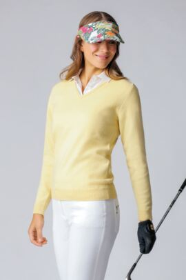 Ladies V Neck Lambswool Golf Sweater