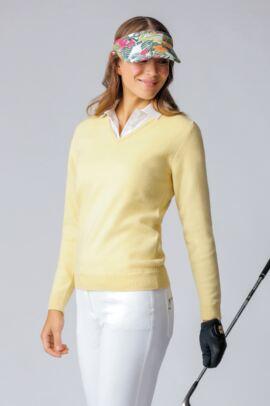 Ladies V Neck Lambswool Golf Sweater