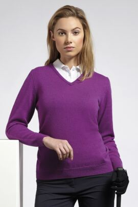 Glenmuir Ladies V Neck Lambswool Golf Sweater