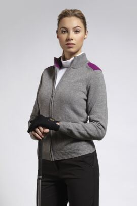 Ladies Zip Through Ottoman Shoulder Panel Lambswool Blend Cardigan