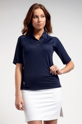 Ladies Performance Mid Length Sleeve Golf Polo Shirt with Grosgrain Ribbon Piping