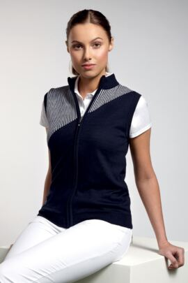 Ladies Cotton Zip Front Golf Gilet with Intarsia Vertical Stripe - SALE