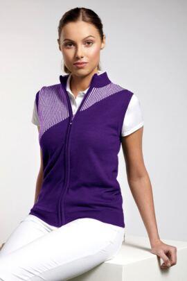 Ladies Cotton Zip Front Golf Gilet with Intarsia Vertical Stripe - Sale