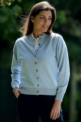 Ladies Round Neck Button Front Cashmere Golf Cardigan