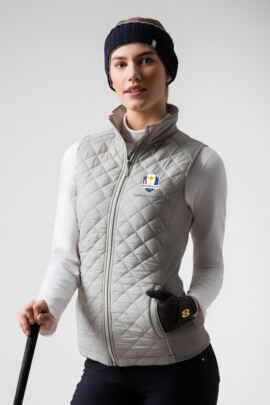 Official Ryder Cup 2018 Ladies Zip Front Diamond Quilted Performance Golf Gilet