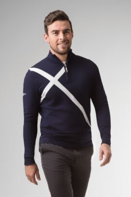 Mens Zip Neck Saltire Cross Cotton Golf Sweater