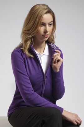 Ladies Cotton Stripe Collar Lined Zip Front Cardigan