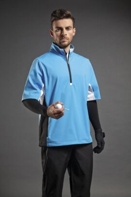 Sunderland Mens Colour Block Half Sleeve Zip Neck Golf Windshirt