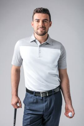 Mens Cross Dyed Shoulder and Sleeve Mercerised Cotton Golf Polo Shirt