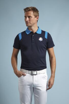 Glenmuir Ryder Cup 2014 Fanwear Strathearn Performance Polo Shirt with Contrast Collar and Shoulder Panels