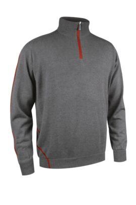 Mens Water Repellent Zip Neck Performance Lined Sweater - Sale