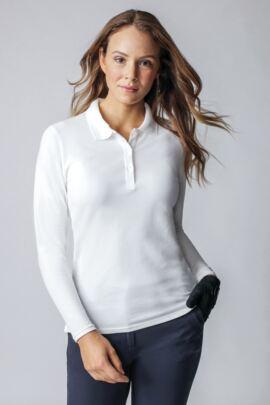 Ladies Long Sleeve Cotton Pique Golf Polo Shirt