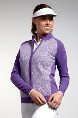 Ladies Cotton Striped Diamond Design Zip Front Golf Cardigan - SALE