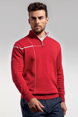 Mens Crossover Intarsia Chest Stripe Zip Neck Golf Sweater