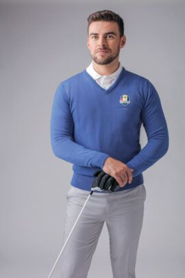 Official Ryder Cup 2018 Glenmuir Mens V Neck Merino Wool Golf Sweater