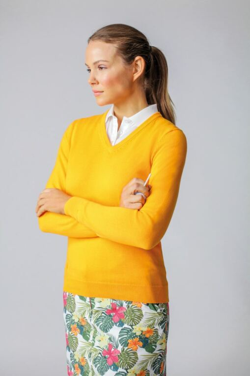 Ladies V Neck Cotton Golf Sweater - Sale