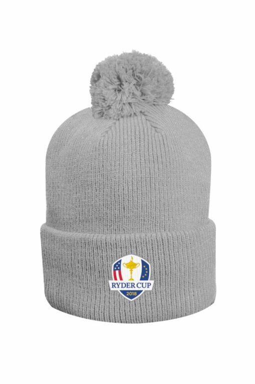 10318d50ad4 Official Ryder Cup 2018 Unisex Thermal Lined Turn Up Rib Merino Golf Bobble  Hat