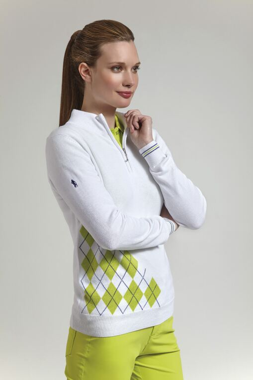 Ladies Zip Neck Offset Diamond Golf Sweater - Sale