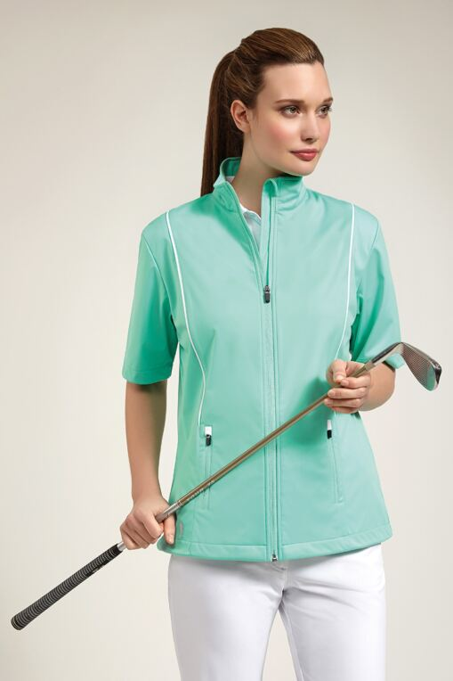 Ladies Zip Front Half Sleeve Piping Detail Wind Jacket - Sale