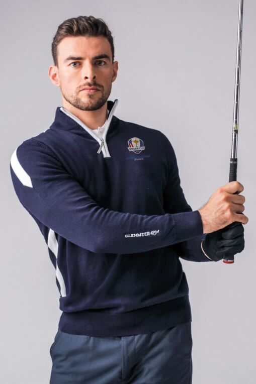 Official Ryder Cup 2018 Mens Zip Neck Intarsia Side Stripe Cotton Golf Sweater