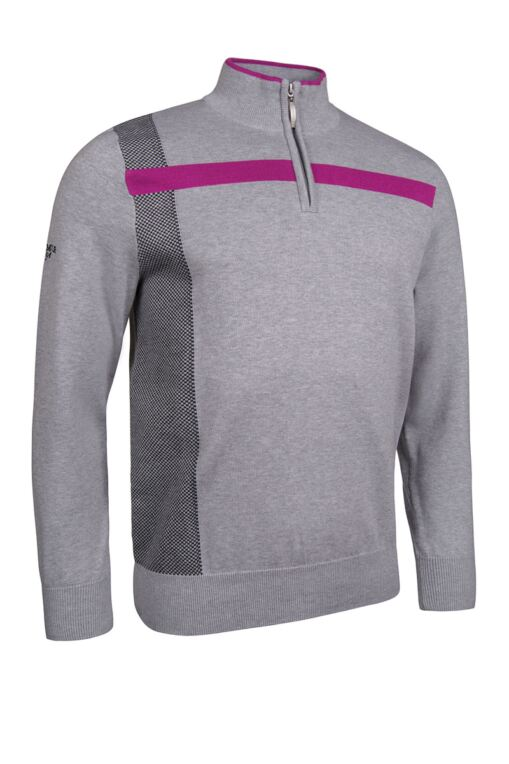 Mens Zip Neck Birdseye Front and Chest Stripe Cotton Golf Sweater