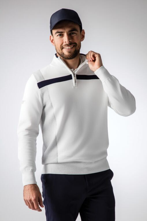 f814414e815048 Mens Zip Neck Birdseye Front and Chest Stripe Cotton Golf Sweater