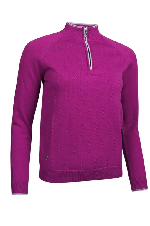 Ladies Zip Neck Deconstructed Cable Cotton Golf Sweater