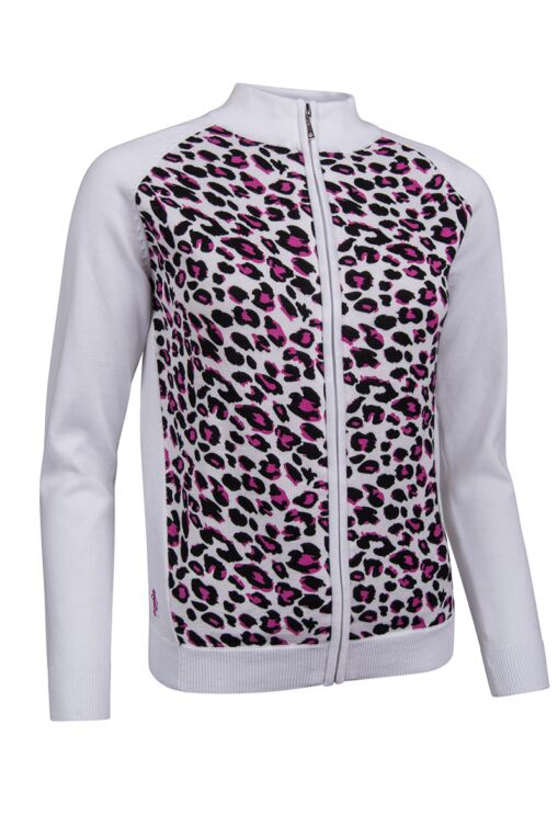 Ladies Zip Front Foil Animal Print Cotton Golf Sweater