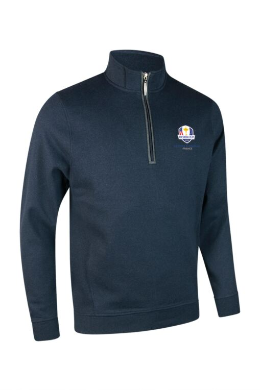 Official Ryder Cup 2018 Mens Zip Neck Rib Side Panel and Contrast Placket Cotton Golf Midlayer