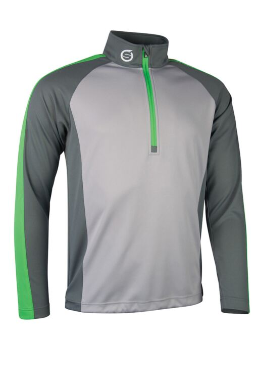 Mens Zip Neck Raglan Panelled Showerproof Golf Midlayer