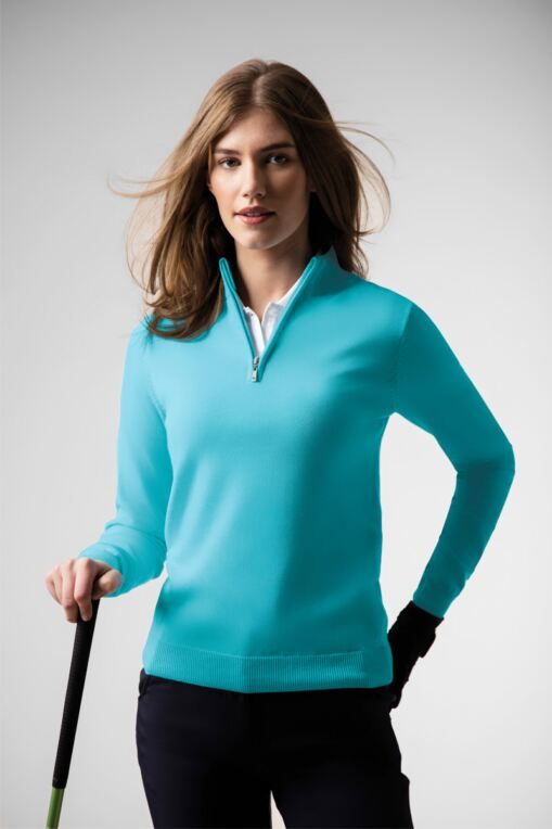 Ladies Zip Neck Cotton Golf Sweater
