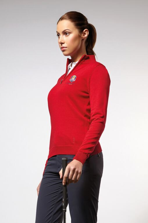 Official Ryder Cup 2018 Ladies Zip Neck Cotton Golf Sweater