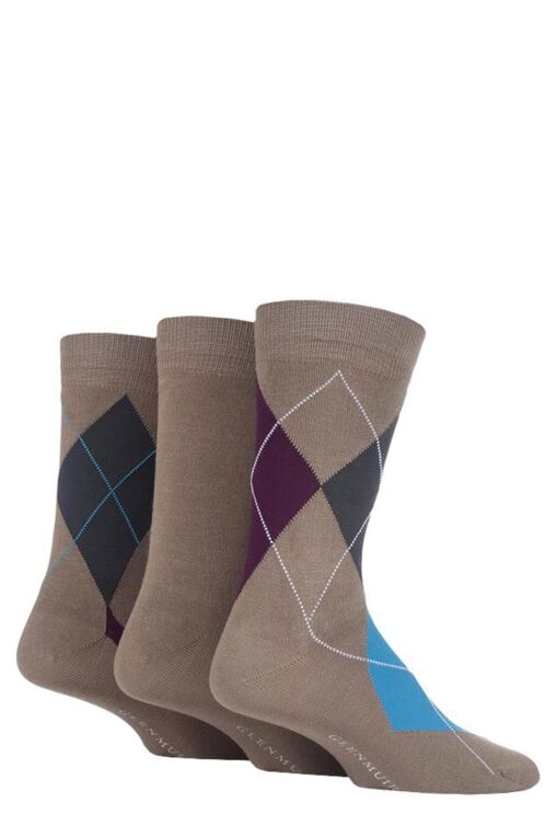 Mens 3 Pair Classic Bamboo Abstract Argyle Socks