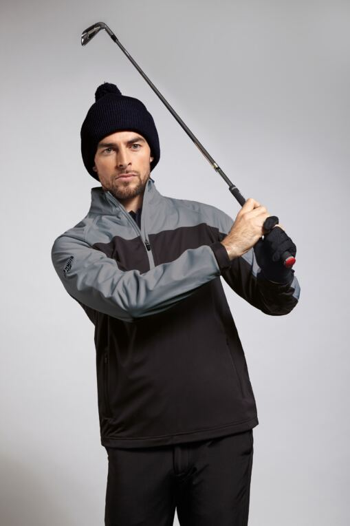 Mens Zip Neck Two Tone Water Repellent Performance Golf Windshirt
