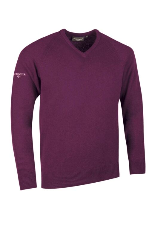 Mens V Neck Raglan Sleeve Lambswool Blend Golf Sweater