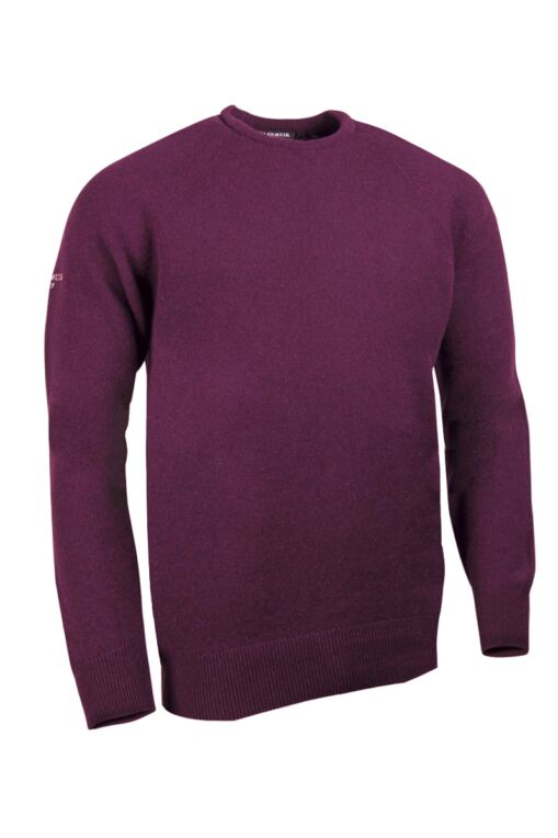 Mens Crew Neck Raglan Sleeve Lambswool Blend Golf Sweater
