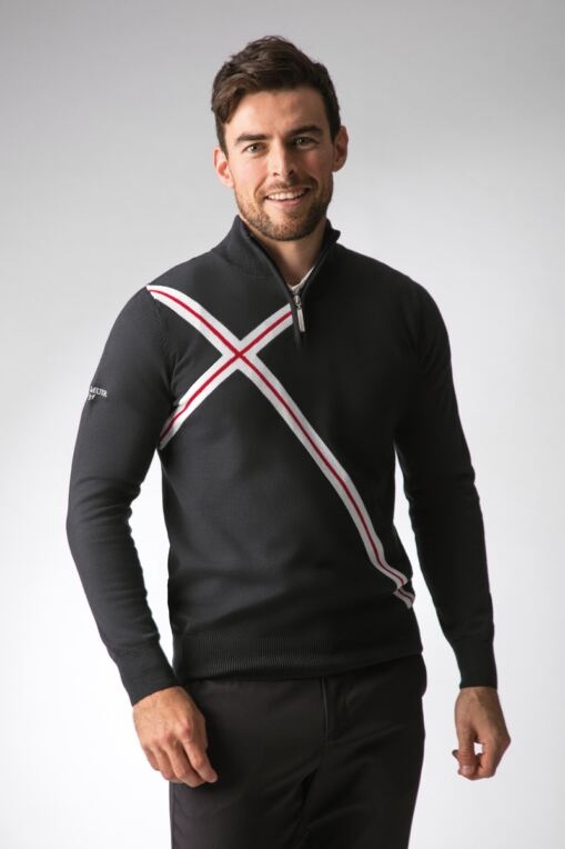 Mens Zip Neck Abstract Cross Cotton Golf Sweater