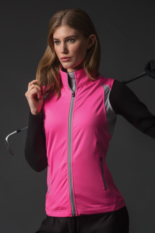 Ladies Zip Front Lightweight Water Repellent Fleece Golf Gilet