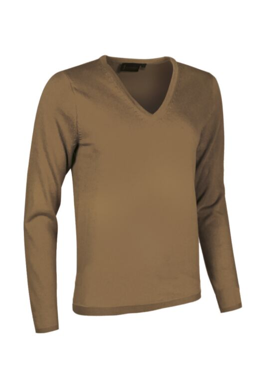 Ladies V Neck Cashmere Golf Sweater