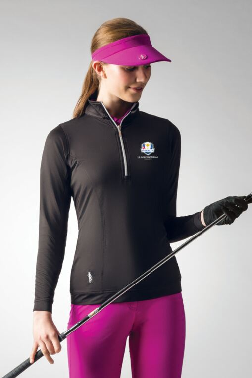 Official Ryder Cup 2018 Ladies Zip Neck Shaped Panel Performance Golf Midlayer