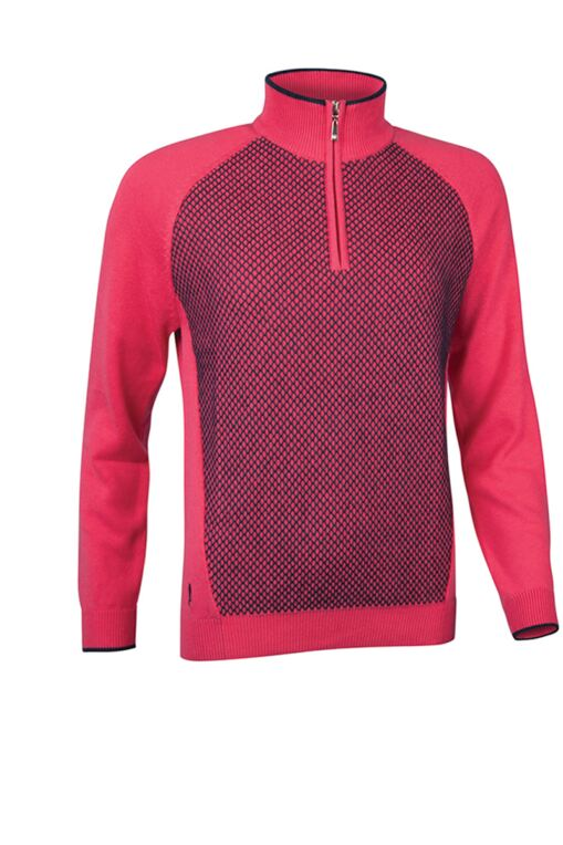 Official Ryder Cup 2018 Ladies Zip Neck Reverse Birdseye Touch of Cashmere Golf Sweater