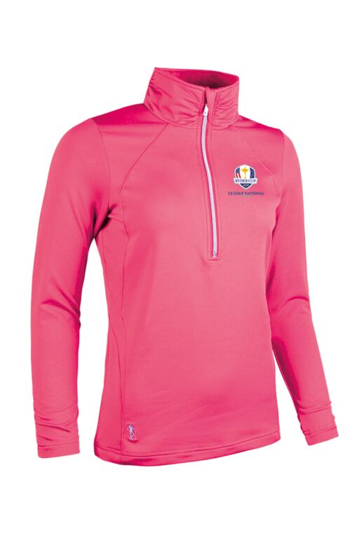 Official Ryder Cup 2018 Ladies Zip Neck Ruche Collar and Sleeve Performance Golf Midlayer