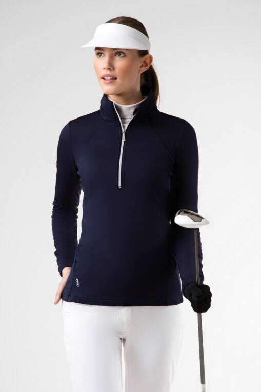 Ladies Zip Neck Ruche Collar and Sleeve Performance Golf Midlayer