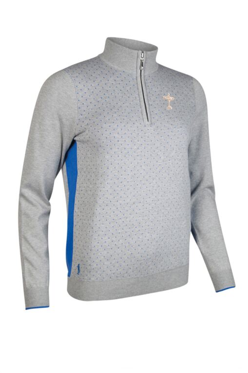 Official Ryder Cup 2018 Ladies Zip Neck Birdseye Polka Dot Cotton Golf Sweater