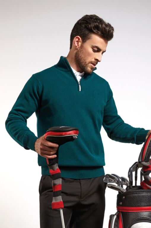 Mens Zip Neck Lambswool Golf Sweater