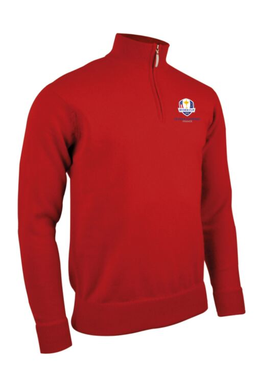 Official Ryder Cup 2018 Mens Zip Neck Lambswool Golf Sweater