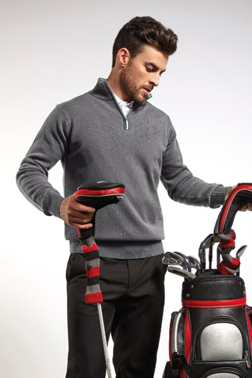 Mens Zip Neck Lambswool Golf Sweater - Sale